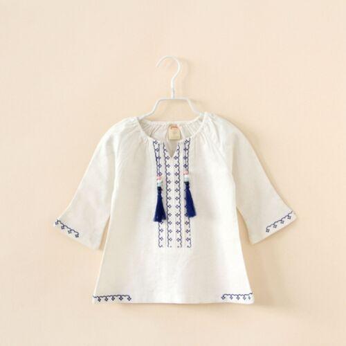 Peasant blouses /& folk wear tunics girls kids top mid sleeves Size 2.3.4.5.6.7