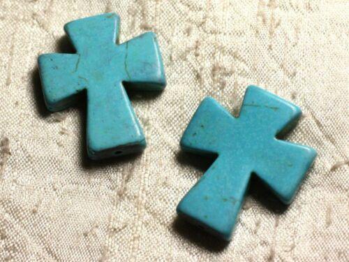 Fil 39cm 11pc env Perles de Pierre Turquoise Synthèse Croix 35x30mm Bleu Turqu