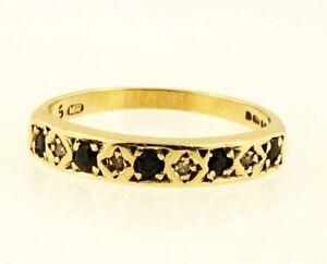 9Carat Yellow Gold Sapphire amp Diamond Eternity Ring Size O 3mm Width - Mansfield, United Kingdom - 9Carat Yellow Gold Sapphire amp Diamond Eternity Ring Size O 3mm Width - Mansfield, United Kingdom