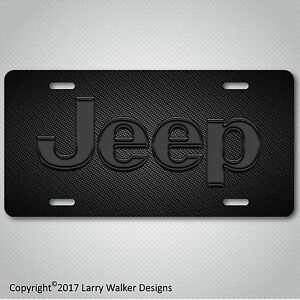 JEEP-Black-Acrylic-on-Carbon-Fiber-Look-Aluminum-License-Plate-Tag-New