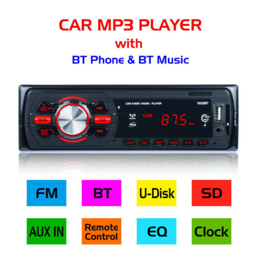 Bluetooth Car Stereo Audio Radio MP3 Player FM//SD//TF USB AUX Input Single 1 Din