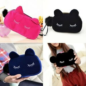 Velvet-Cute-Cat-Travel-Cosmetic-Bag-Makeup-Case-Pouch-Storage-Toiletry-Organizer