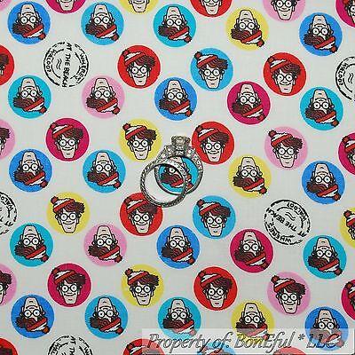 BonEful Fabric FQ Cotton Quilt White Red Where's Waldo Hat Dot Comic Boy Cartoon