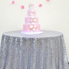 "72""Round Silver Sequin Sparkly Glitter Tablecloth for Wedding /Party"