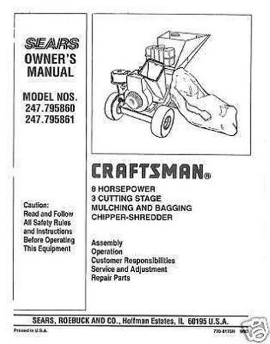 Craftsman  Chipper Shredder  Manual Model # 247.795861