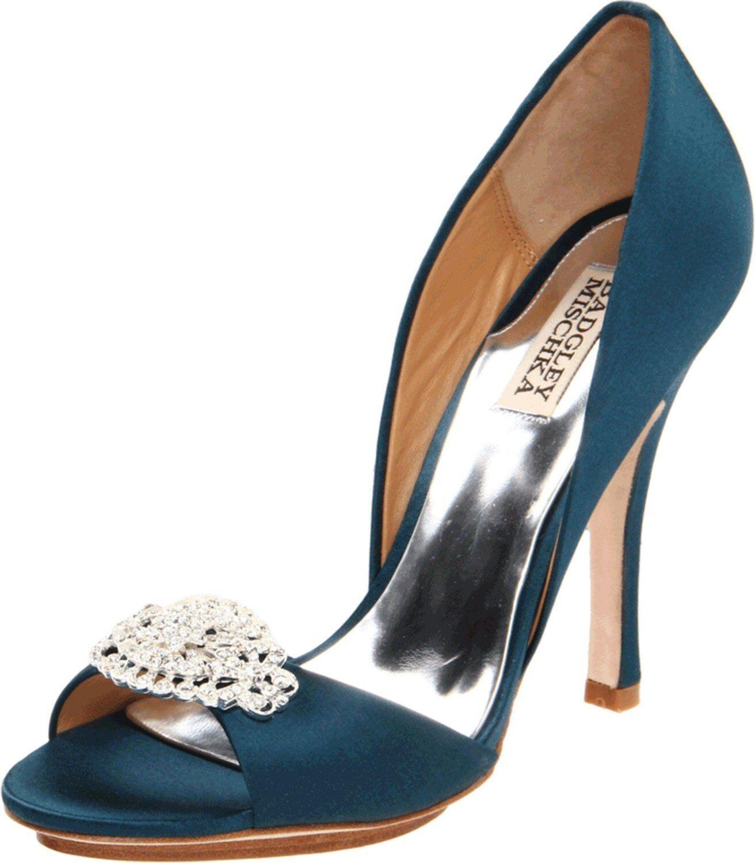 NIB  Badgley Mischka Gia open toe High Heel d'orsey pump shoes w crystal  TEAL 6