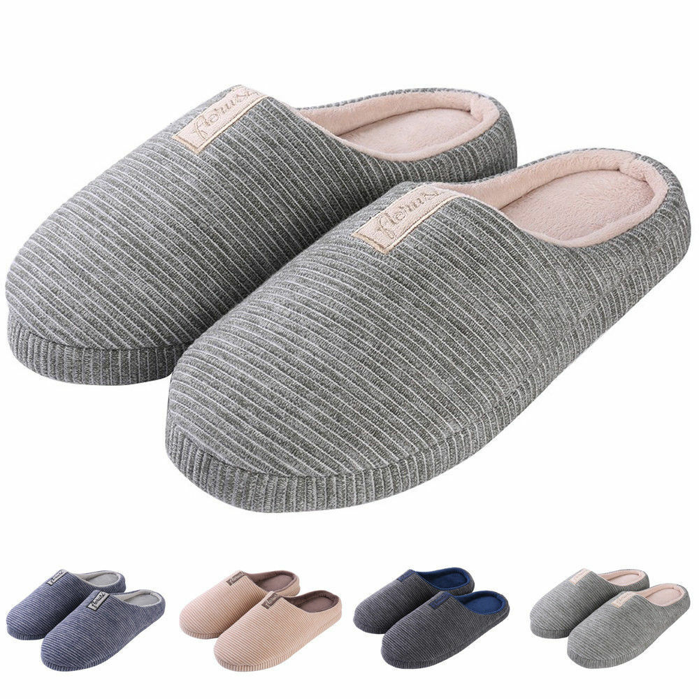 Men's Shoes Women's Cozy Fleece House Slippers Slip-on Shoes Men's Winter Warm Flip Flops 8f7937