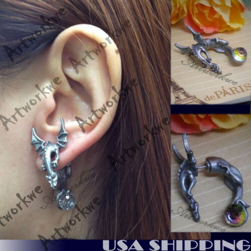 Cool 3D Dragon with wings Puncture Ear Stud Womens Mens Unisex Earring One Piece