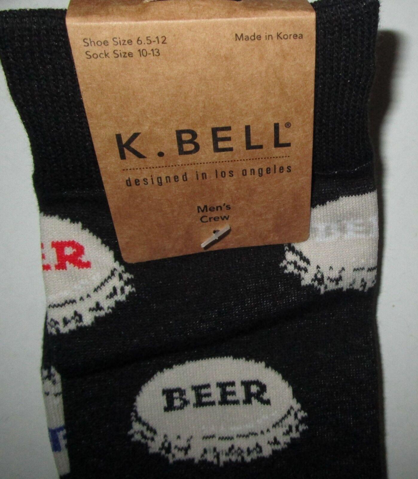 Beer Pong Socks Crew Black K Bell Sock Size L Shoe Sz 6-12