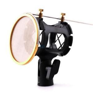 condenser microphone mic shock mount with metal mesh wind screen net pop filter. Black Bedroom Furniture Sets. Home Design Ideas