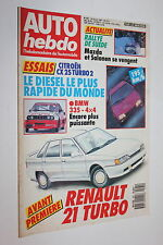 Auto Hebdo 561-1987-Renault 21 Turbo-Citroën CX D-BMW 325 4X4-Volvo 760 Turbo