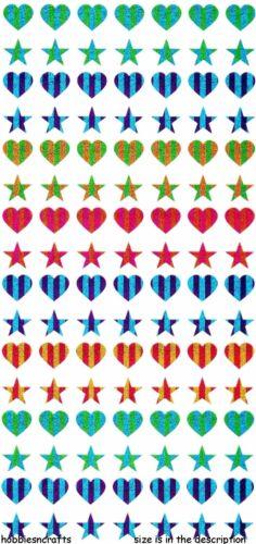 112  COLOURFUL METALLIC HEARTS /& STARS EK SUCCESS STICKO STICKERS