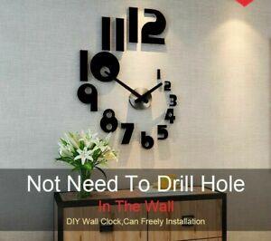 Home Silent Wall Clock Quartz Watch Sticker 3D Acrylic Modern Design Accessories