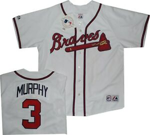 finest selection 2a0ee 20269 Details about Atlanta Braves Dale Murphy White Replica Majestic Jersey  Older Style A6400 Large