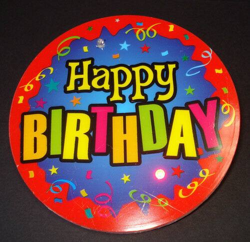 """Geburtstags Button /""""Happy Birthday/"""" mit 2x LED Gag Party Geburtstag Scherz Spaß"""
