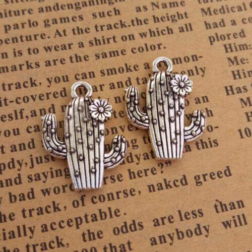 10pcs Charms Cute Cactus Plant Beads Pendant DIY Necklace Bracelets Makings