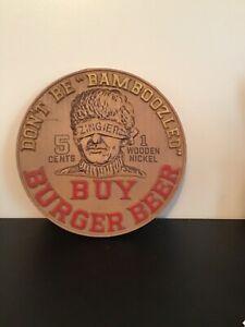 Details About Vtg Burger Beer Zingier 5 Cents Wooden Nickel Plastic Bar Pub Sign Man Cave