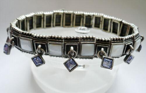 Design pulsera alta valor madreperla elástico joyas de metal blanco plateado difícil nuevo