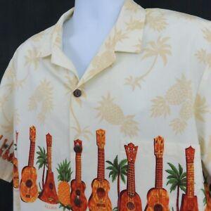 Guitar-Ukulele-Aloha-Hawaiian-Shirt-Mens-2XL-Royal-Creations-Yellow-Border-Print