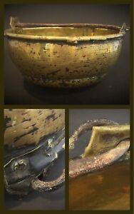 Antique-18em-soupiere-chaudron-de-cheminee-en-cuivre-jaune-martele-et-fer-forge