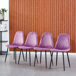 Modern 4pcs Velvet Dining Chairs Upholstered Kitchen Dining Room Office Chairs 791405504902 Ebay