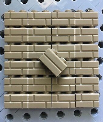 Lego 1x2 Dark Tan Sand Yellow Bricks Modified w/ Masonry Profile Wall 25pc Decor