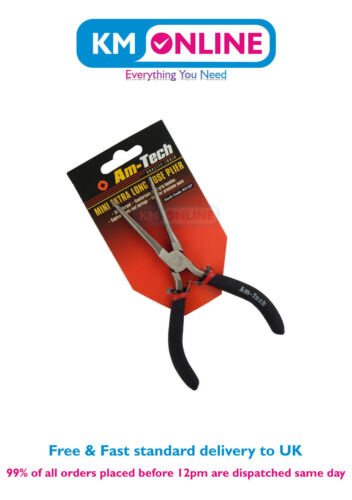Am Tech Mini Extra Long Nose Plier with Spring and matt grip handles Hand Tool