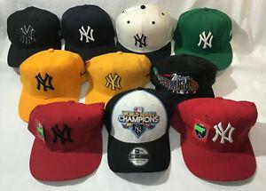 New York Yankees Lot 10 Unworn Baseball Caps With 1998 & 2009 World Series Hats