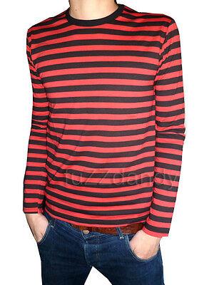 c08687f6ed6 Mens Stripey t-shirt tee red black nautical indie mod Top striped preppy  jumper | eBay