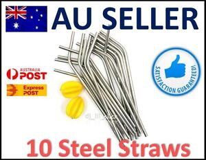 10-x-Eco-Stainless-Steel-Metal-Drinking-Straw-Straws-Bent-Reusable-Washable