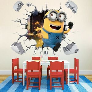 Details about Kids Bedroom Wall Decor 3D Minion Sticker Removable Wall  Pictures for Kids Room