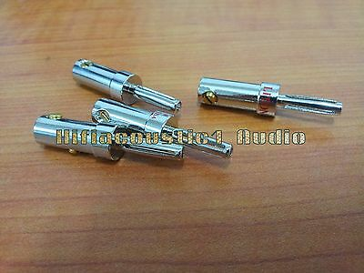 4Pcs Speaker Cable Wire Banana Copper Rhodium Plated Connector Plug