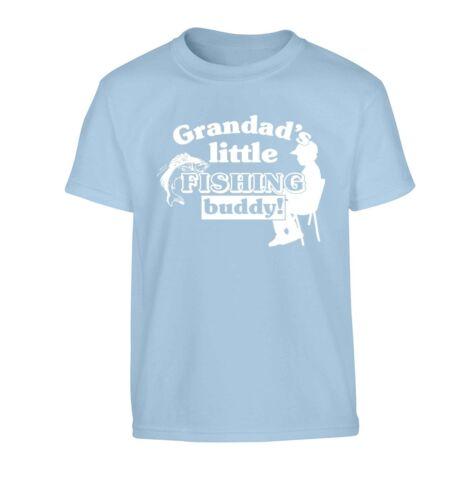 Grandad/'s little fishing buddy kid/'s t-shirt grandson fish line hook rod 5908