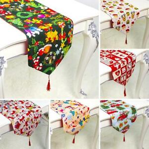 Christmas Table Runners.Details About Christmas Table Flag Xmas Table Runner Tablecloth Dining Place Mat Home Decor W
