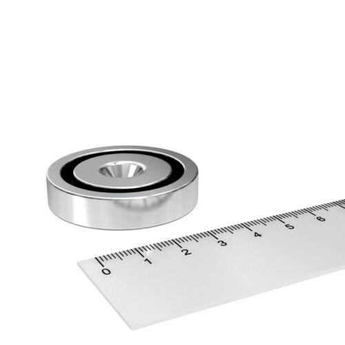 5x NEODYM TOPF MAGNET 42x9 mm HAUSHALT MIT 6.5 mm BOHRUNG UND SENKUNG N35