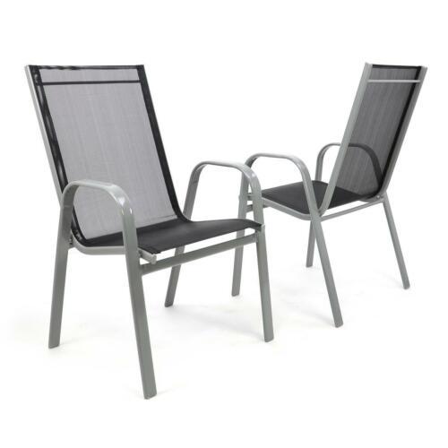 Set 2er sedia da giardino sedia batch batch POLTRONA SCHIENALE ALTO TEXTILENE ACCIAIO NERO