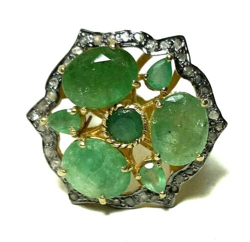 Victorian Real Emerald Gemstone Jewelry 925 Sterling Silver Pave Diamond Ring