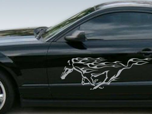 Set of Silver vinyl stickers Ford Mustang Silver Running Horse w Flames Decals