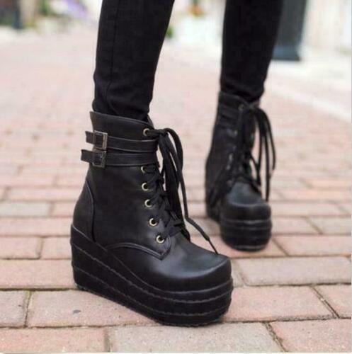 Ladies Women Gothic punk platform High top Buckle Wedge Heels combat Ankle Boots