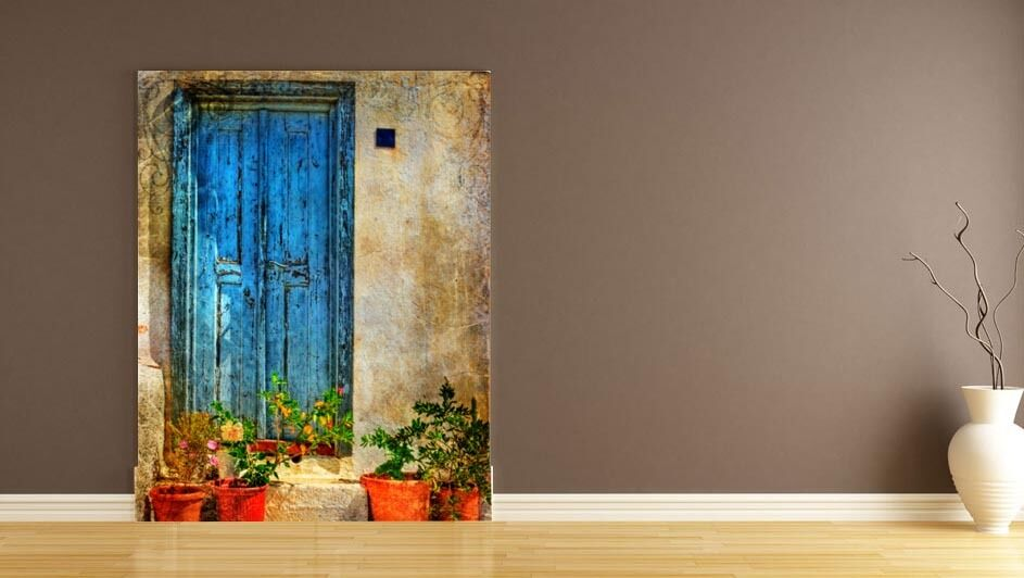 3D bluee Door vase 1A WallPaper Murals Wall Print Decal Wall Deco AJ WALLPAPER