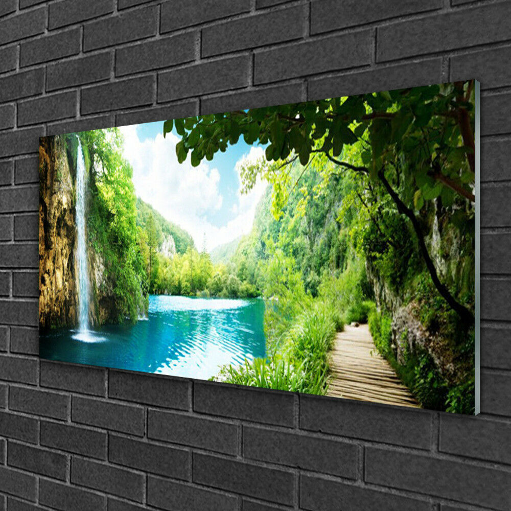 Print on Glass Wall art 100x50 Picture Image Waterfall Lake Trees Nature