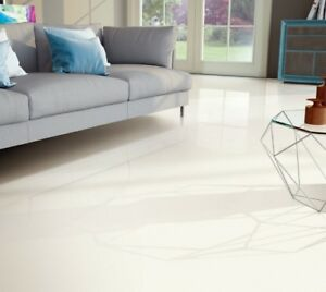 Image Is Loading Polished Porcelain Tile 32x32 Moderni White Rectified Marble