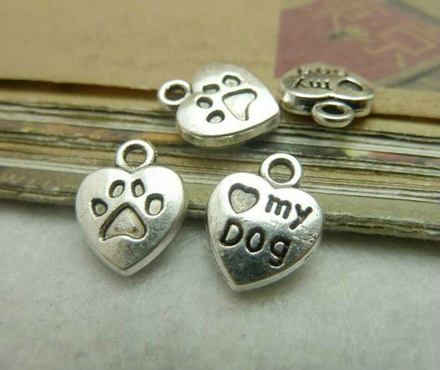 50pcs 10x13mm Antique Bronze Silver Mini Heart Love My Dog Charms Pendant Free