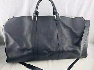 KITON-Duffel-Luggage-Bag-Large-Black-Pebbled-Leather-Shoulder-Strap-24-x-8-x-11