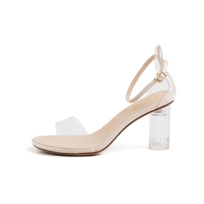 Zapato Sandalia para mujeres Punta Abierta Correa De Tobillo Alto Bloque Talón Fiesta Moda Transparente