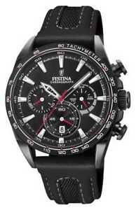 Festina Mens Black PVD Plated Chrono Leather Strap F20351 3 Watch ... 2089ae0b9119