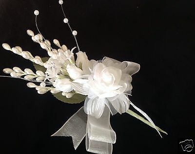 White Four Roses Wedding Quinceanera Corsage Faux Pearls Flower Spray Favor