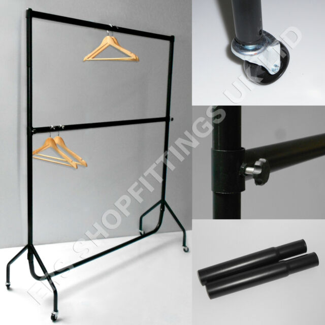 6ft HEAVY DUTY DOUBLE CLOTHES GARMENT RAIL with EXTENSIONS POLES