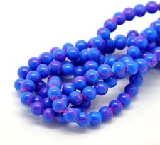 50 x 8mm Blue & Pink Mottled Round Glass Marble Effect Beads Beading T128