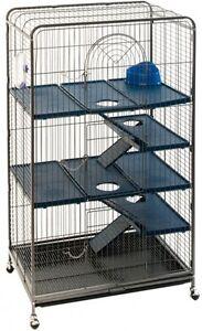 Rata-Huron-Jaula-Chinchilla-Grande-Ardilla-Casa-de-Mascotas-casa-de-seguridad-ruedas-W-de-metal